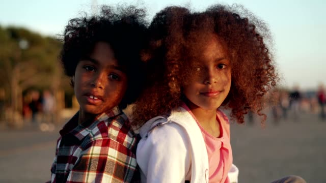 portrait of smiling kids - sister stock videos & royalty-free footage