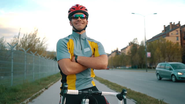 portrait of smiling male cyclist - motorcycle biker stock videos & royalty-free footage