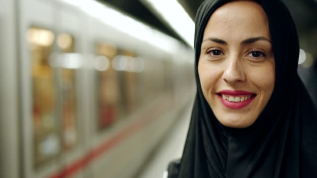 portrait of smiling muslim woman - middle eastern culture stock videos & royalty-free footage
