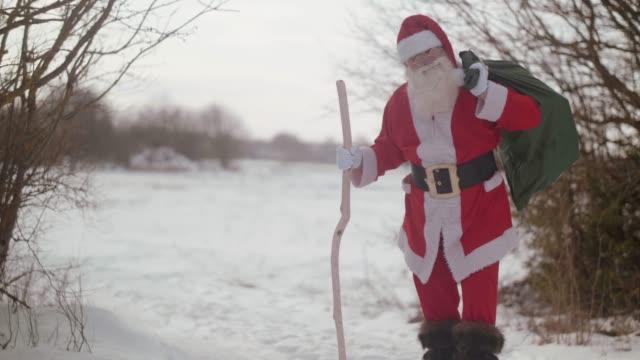 Portrait of smiling Nordic Santa Claus (slow motion)