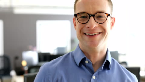 portrait of smiling professional at office - button down shirt stock videos & royalty-free footage