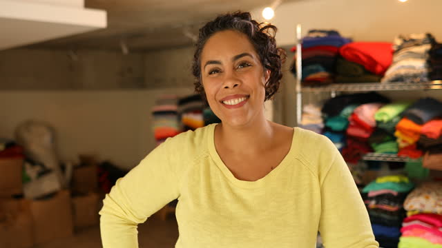 portrait of smiling seamstress in her sewing studio - ponytail stock videos & royalty-free footage