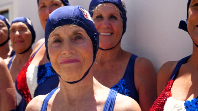 cu portrait of smiling senior female synchronized swim team - grace stock videos & royalty-free footage