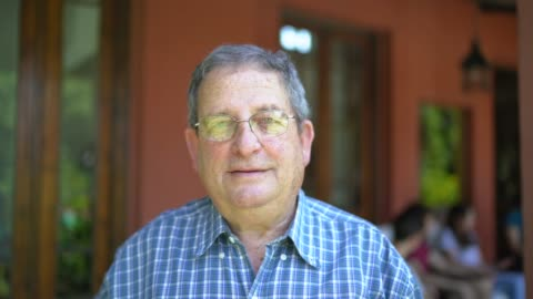 portrait of smiling senior man at home - argentinian ethnicity stock videos & royalty-free footage