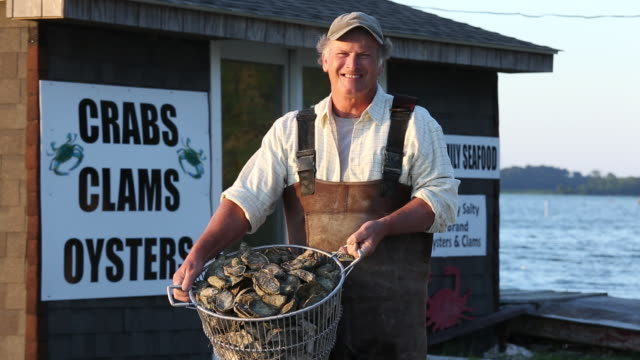 ms pan portrait of smiling waterman holding basket of fresh oysters in front of seafood shack / oyster, virginia, usa - in front of stock videos and b-roll footage