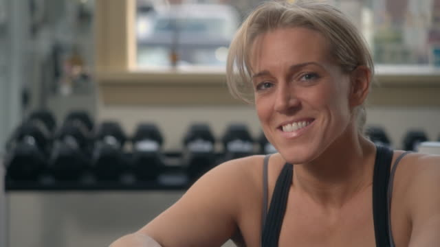 CU, Portrait of smiling woman in gym, Garwood, New Jersey, USA