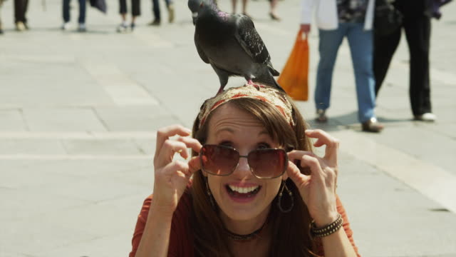 stockvideo's en b-roll-footage met slo mo cu portrait of smiling woman with pigeon on head on st. mark's square / venice - alleen één mid volwassen vrouw