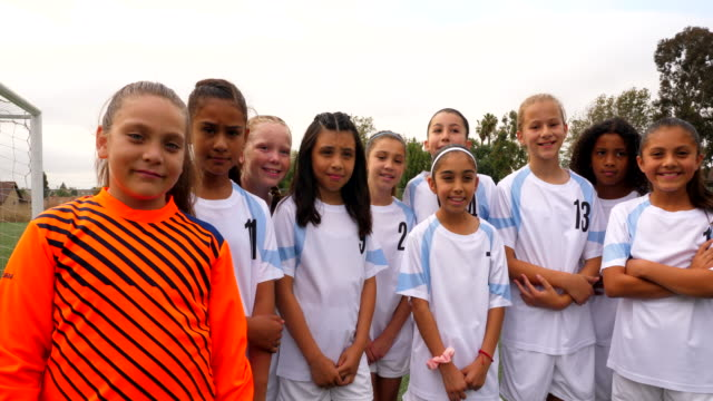 ms portrait of smiling young female soccer team - pacific islander portrait stock videos & royalty-free footage
