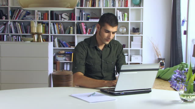 ms, portrait of smiling young man using laptop in living room - sideburn stock videos & royalty-free footage