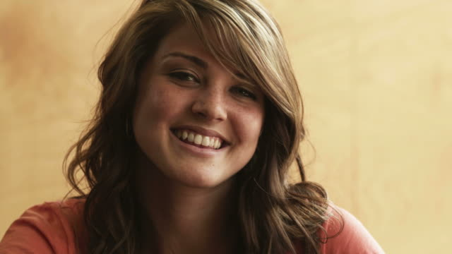 CU Portrait of smiling young woman, Provo, Utah, USA