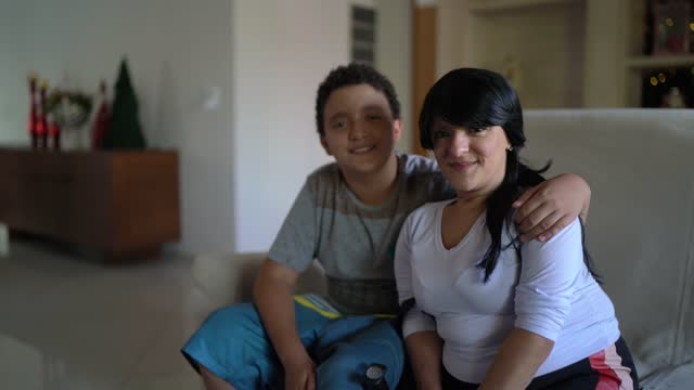 portrait of son and dwarfism mother at home - human head stock videos & royalty-free footage