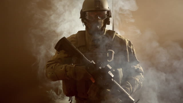 ms, portrait of special forces operator in full protection gear with assault rifle, tampa, florida, usa - army stock videos & royalty-free footage