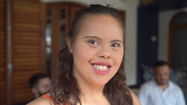 portrait of special needs girl at home - mental disability stock videos & royalty-free footage