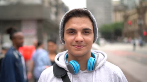 portrait of student man on the street - person in further education stock videos & royalty-free footage