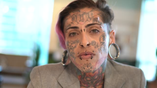 portrait of tattooed businesswoman at office - tattoo stock videos & royalty-free footage