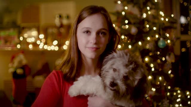 portrait of teen and christmas tree - knähund bildbanksvideor och videomaterial från bakom kulisserna