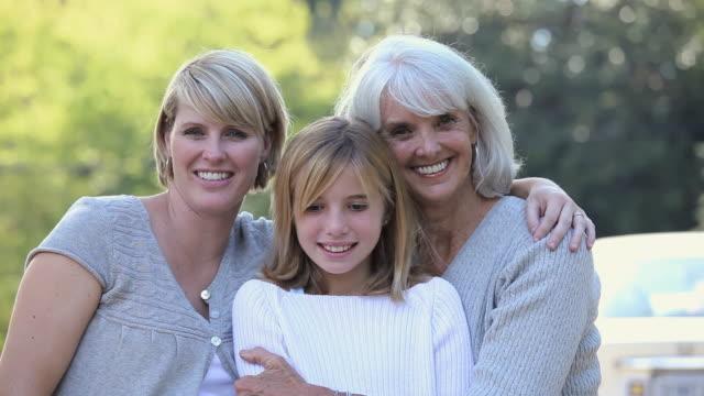 CU Portrait of three generations female family members / Richmond, Virginia, USA.