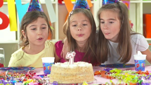 HD: Portrait Of Three Girl Blowing Birthday Candles