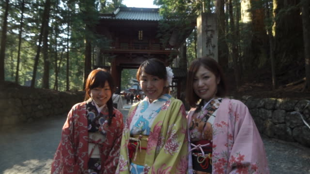 portrait of three japanese women in kimono - 3人点の映像素材/bロール