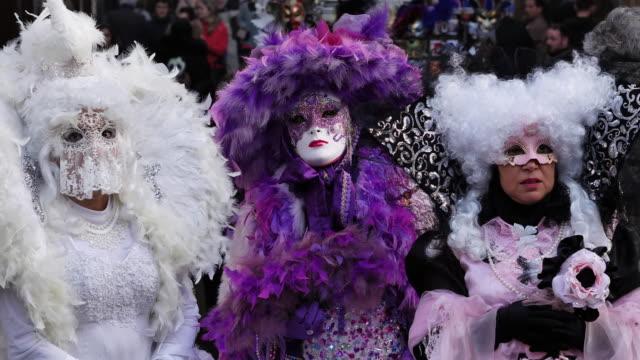 stockvideo's en b-roll-footage met portrait of three women wearing carnival costumes - italian culture