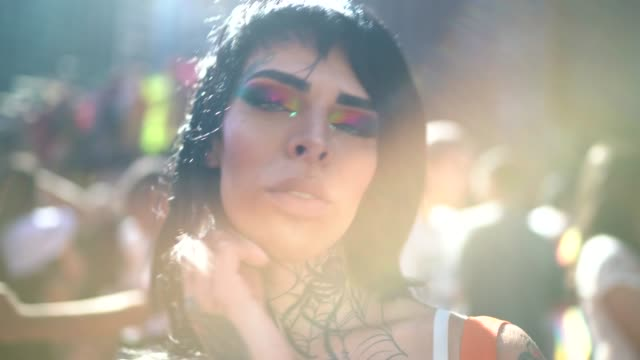 portrait of transgender woman during lgbtqi parade - pride stock videos & royalty-free footage