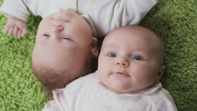vidéos et rushes de cu ha portrait of two babies (2-5 months) lying on green carpet, brussels, belgium - 2 5 mois