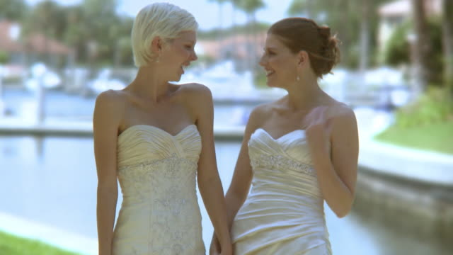 ms td tu portrait of two brides holding hands, jacksonville, florida, usa - lesbica video stock e b–roll