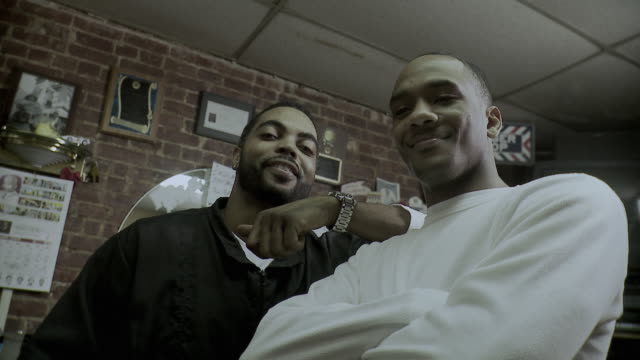 ms la portrait of two men posing in barber shop, brooklyn, new york city, new york state, usa, - see other clips from this shoot 1437 stock videos and b-roll footage