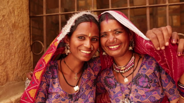 portrait of two rajasthani women smiling, jaisalmer, rajasthan, india - indian ethnicity stock videos and b-roll footage