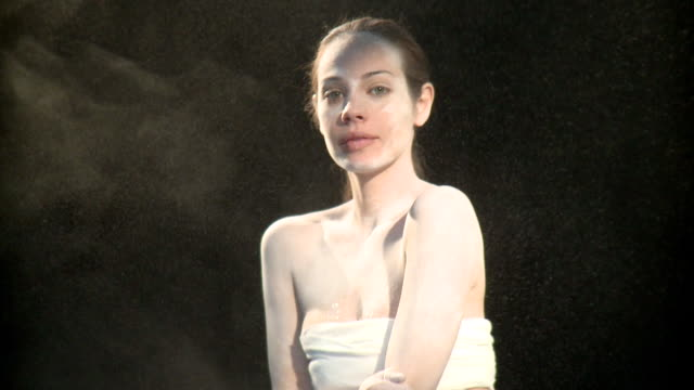 ms portrait of woman covered in talcum powder, new york city, new york, usa - talcum powder stock videos and b-roll footage