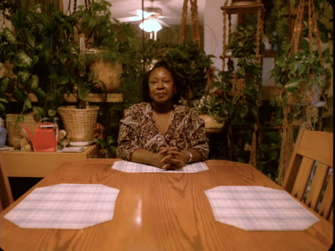 ms, portrait of woman sitting at dining room table, house plants in background, reno, nevada, usa - houseplant stock videos and b-roll footage