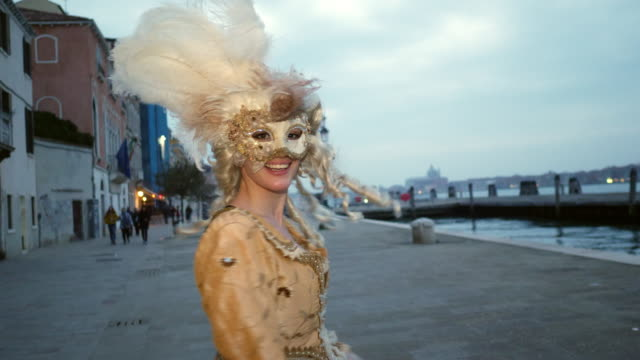 portrait of woman wearing historical clothing and carnival mask - historical clothing stock videos & royalty-free footage