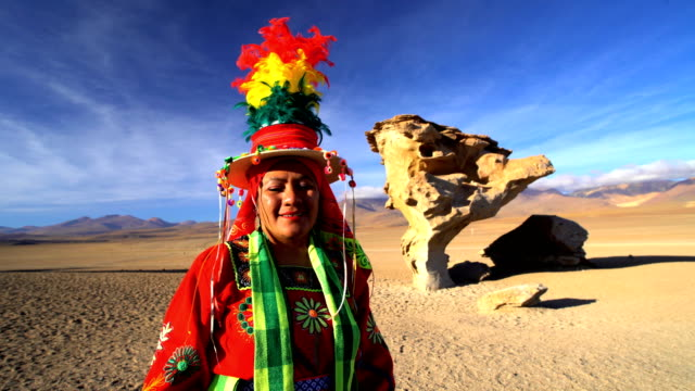 Portrait of women in traditional National Headdress Bolivia