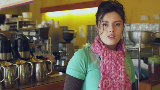 vidéos et rushes de ms portrait of women working by in cafe / manchester, vermont, usa - manchester vermont