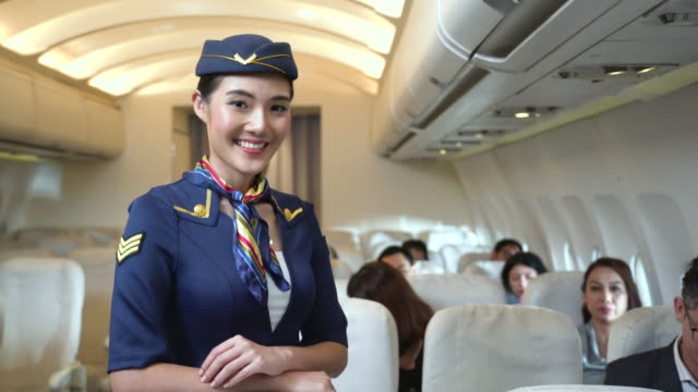 portrait of young attractive flight attendant standing - crew stock videos & royalty-free footage