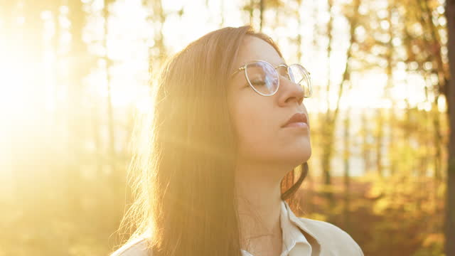 portrait of young beautiful woman with glasses - video portrait stock videos & royalty-free footage