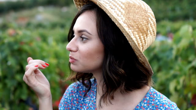 portrait of young beautiful women eating grapes - super slow motion stock videos & royalty-free footage
