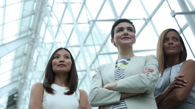 portrait of young business women in modern office - drei personen stock-videos und b-roll-filmmaterial