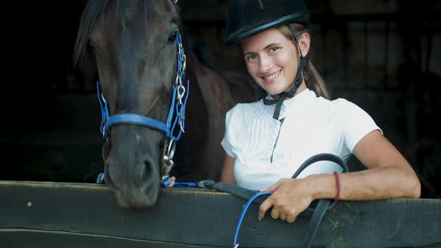 portrait of young female jockey - video portrait stock videos & royalty-free footage