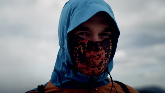 portrait of young man in cold climate - hiking stock videos & royalty-free footage