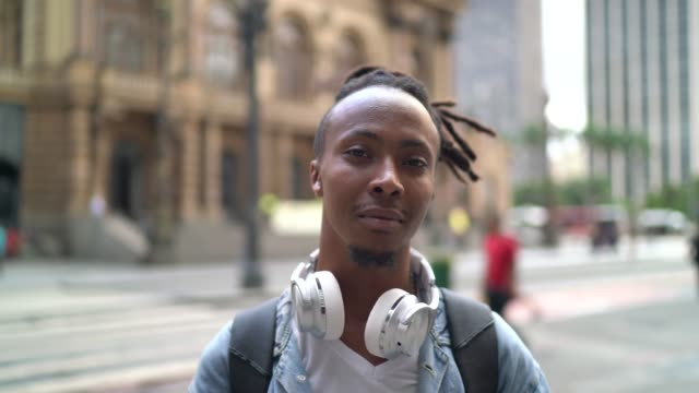 portrait of young man in the city - black hair stock videos & royalty-free footage