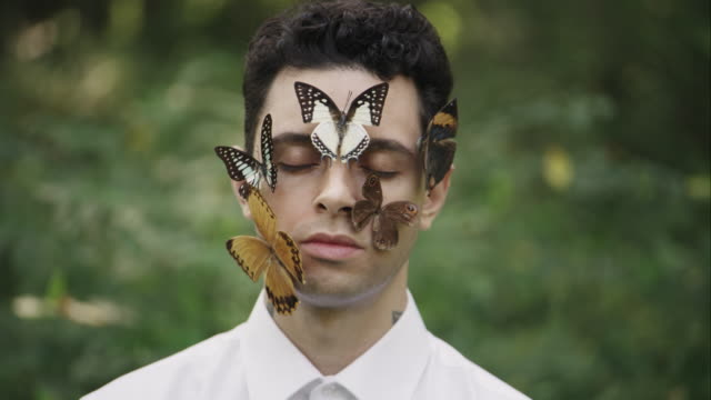 portrait of young man with butterflies on his face - アルスター郡点の映像素材/bロール