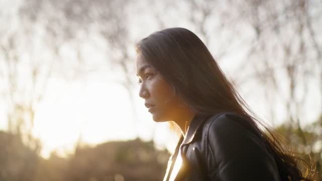 portrait of young woman in nature - back lit stock videos & royalty-free footage