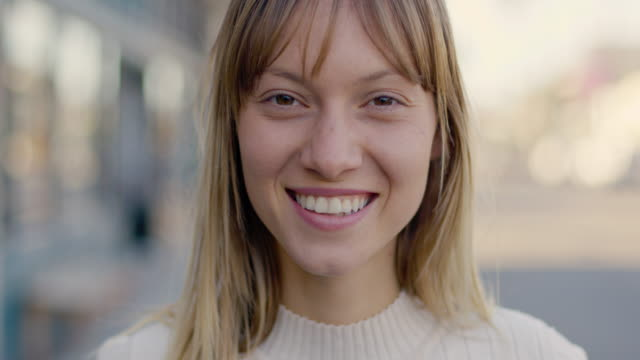 portrait of young woman on the street - human face stock videos & royalty-free footage