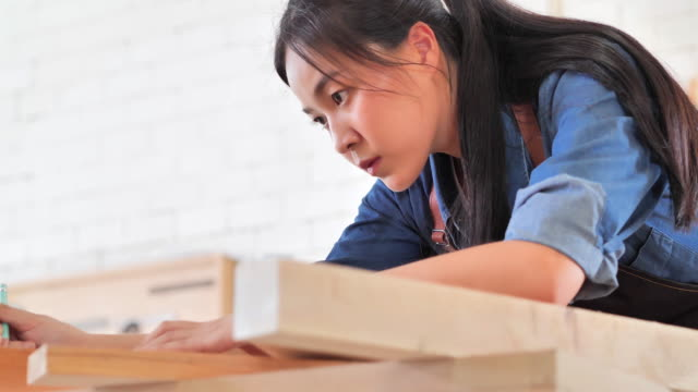 portrait of young woman worker in the carpenter workroom.vision,innovation,opportunity,small business,aging,wisdom,independence,collaboration,leadership,service,women in stem,empowerment,expertise,mentorship,blue collar workers concept. - asian chance stock videos & royalty-free footage