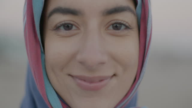 portraits of muslim men and women - hijab stock videos & royalty-free footage