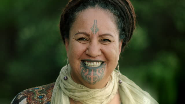 portraits of people with tā moko, new zealand - mature adult stock videos & royalty-free footage
