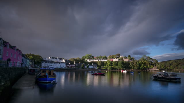 portree harbour on the isle of skye in the scottish highlands - skye stock videos and b-roll footage