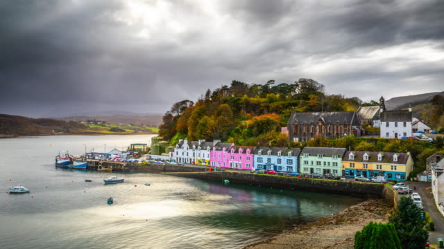 portree, isle of skye, scotland - time lapse - hebrides stock videos & royalty-free footage