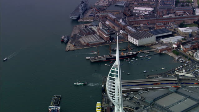 portsmouth  - aerial view - england, portsmouth, united kingdom - hampshire england stock videos and b-roll footage